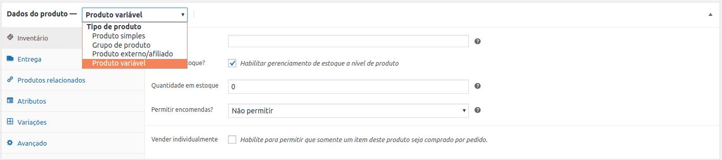 WooCommerce - Tipos de produtos