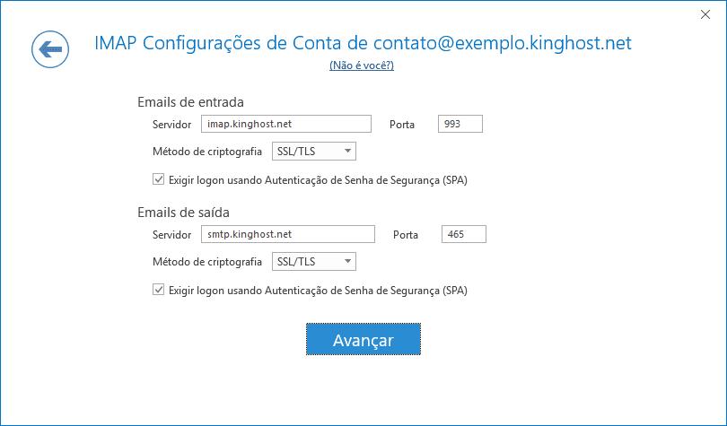 Nesta tela é semelhante à anterior, mas com configurações de entrada e saída com SSL.