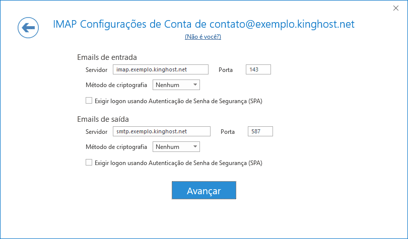 Aqui você encontra a tela de configuração do outlook, com os protocolos e portas do servidor de entrada e de saída.