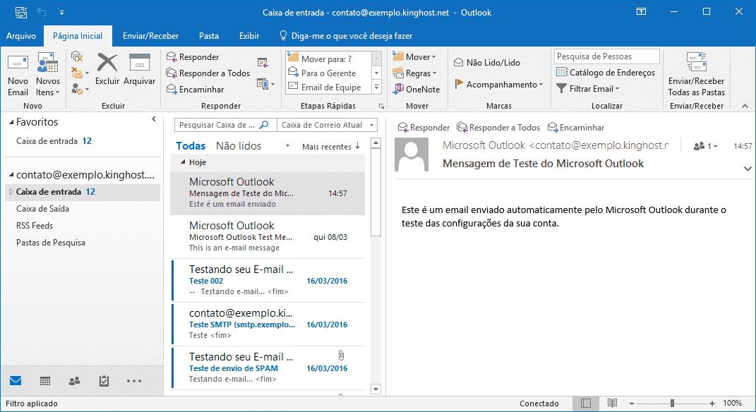 Exemplo de utilização de uma conta de e-mail configurada no outlook.