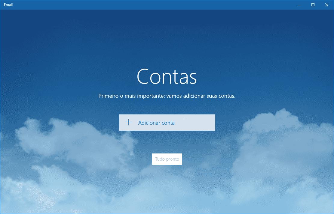 Como configurar o Email do Windows 10. Nesta tela inicial, clique em adicionar conta.