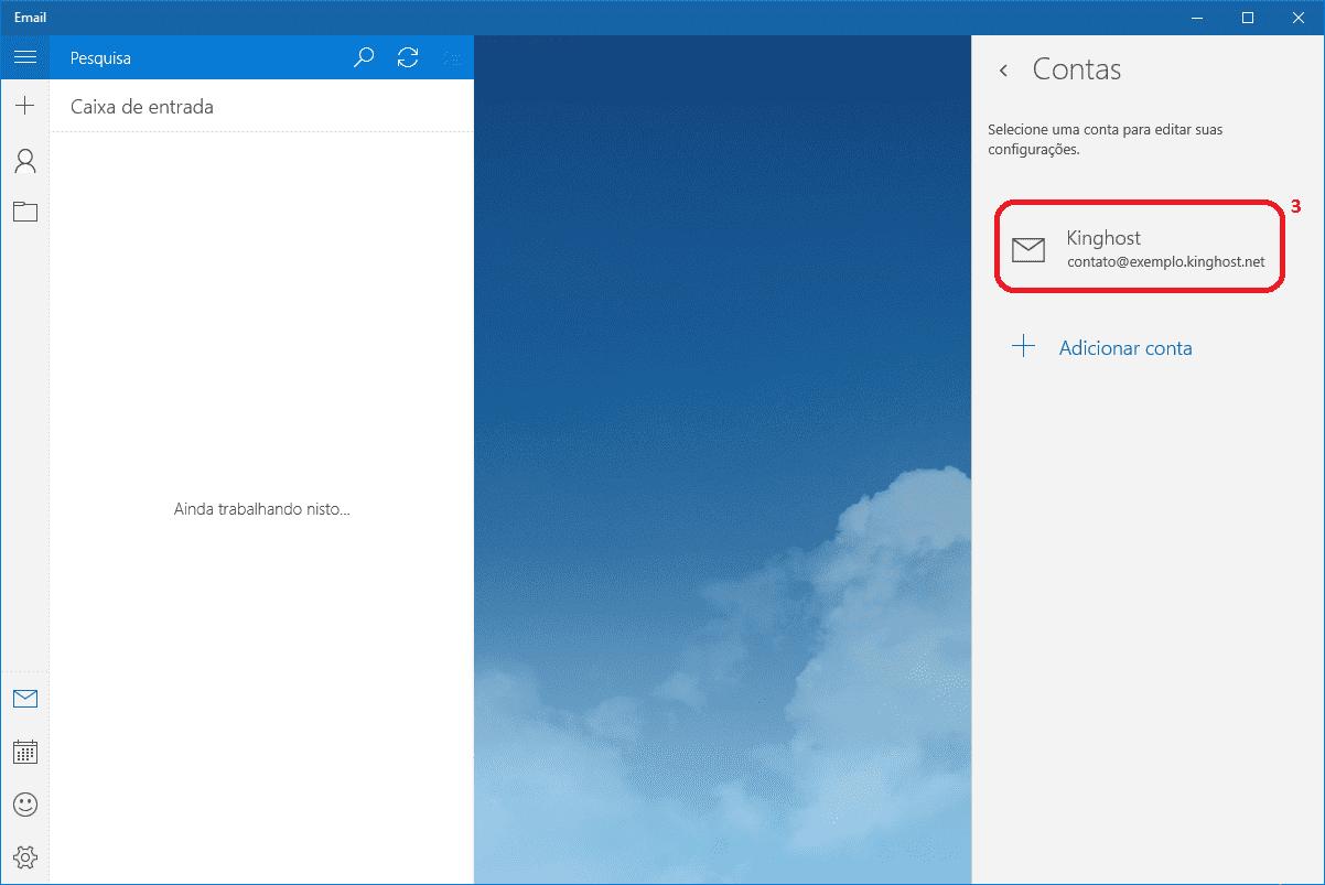 Neste passo a imagem exibe a conta que você configurou, deve-se clicar nela.
