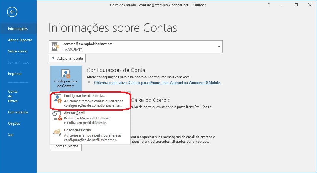 Depois basta clicar em Configurações de Conta e em seguida em Configurações de conta.