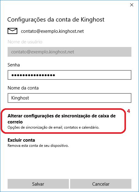 Já nas propriedades da conta selecionada, basta clicar em alterar configurações de caixa de correio.