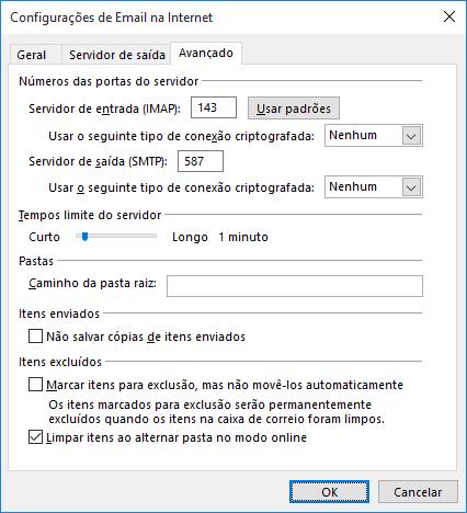 Nesta imagem consta a mesma tela de configuração anterior, porém na aba avançado. Nela você configura as portas do servidor de entrada e de saída.