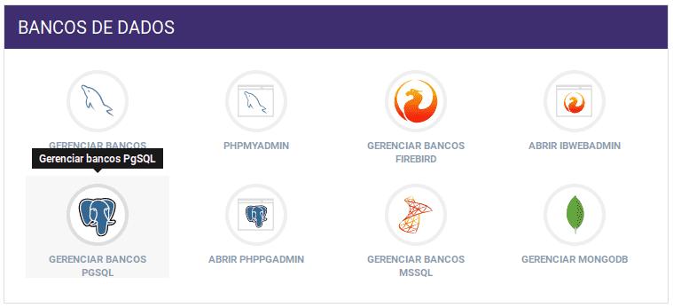 Painel de Controle - Gerenciar Bancos PGSQL