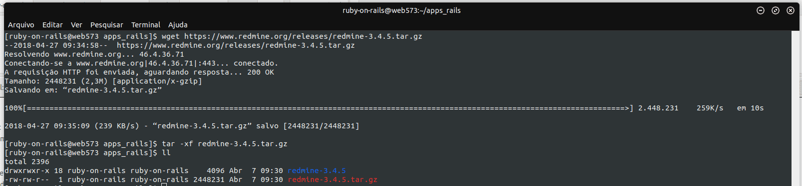 Instalar o RedMine via SSH