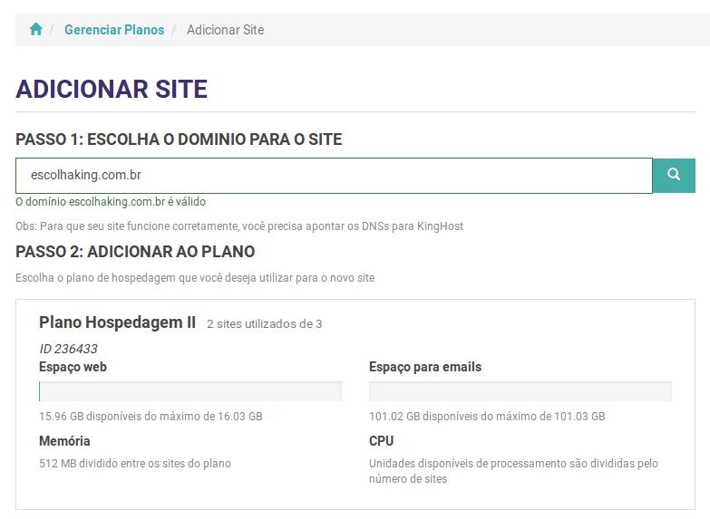 Adicionar um site ao plano