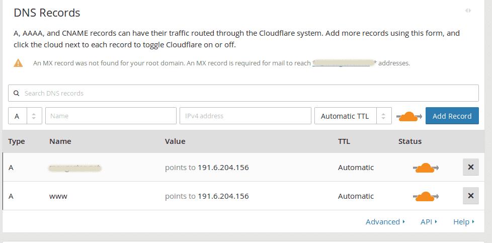 Zona de DNS da CloudFlare