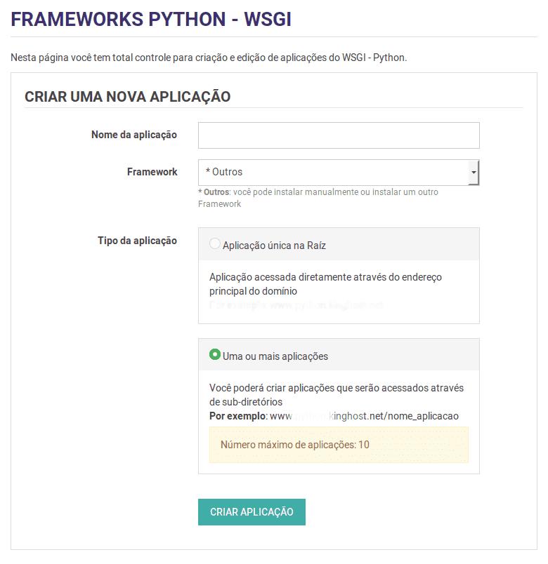 Criar aplicação WSGI