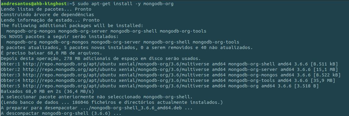 Utilizar o mongodb via terminal