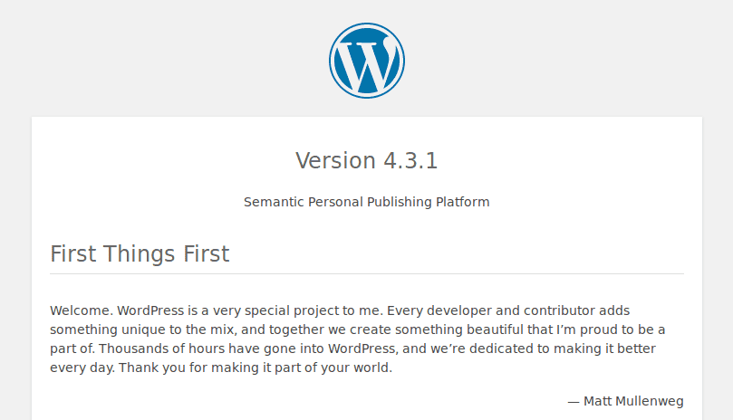 Informação do readme.html do WordPress