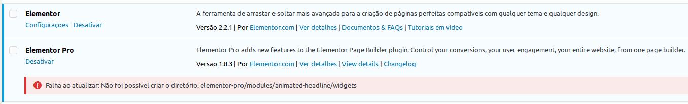 Erro na atualização do plugin Elementor Pro em ambiente Windows