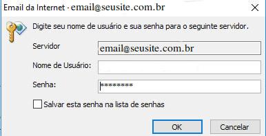 MS Outlook pedindo senha da conta