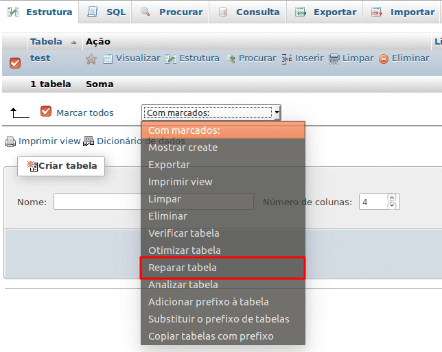 Reparar tabelas corrompidas no MySQL
