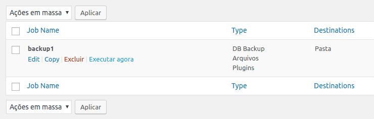 Executar rotinas de backup no BackWPup