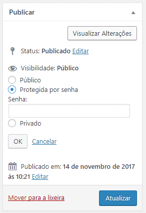 Proteger post com senha no WordPress