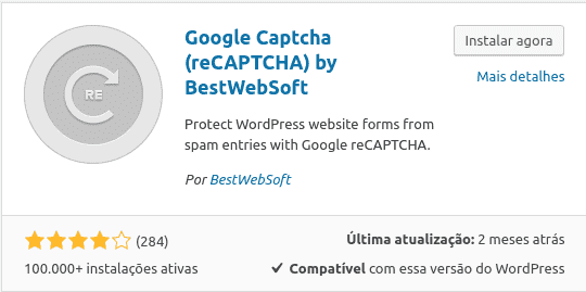 Google Recaptcha na loja do wordpress