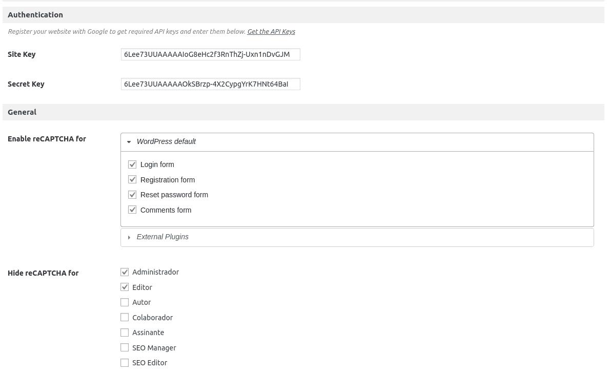 configuração do plugin