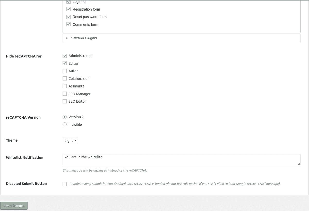 Configuração do plugin 2