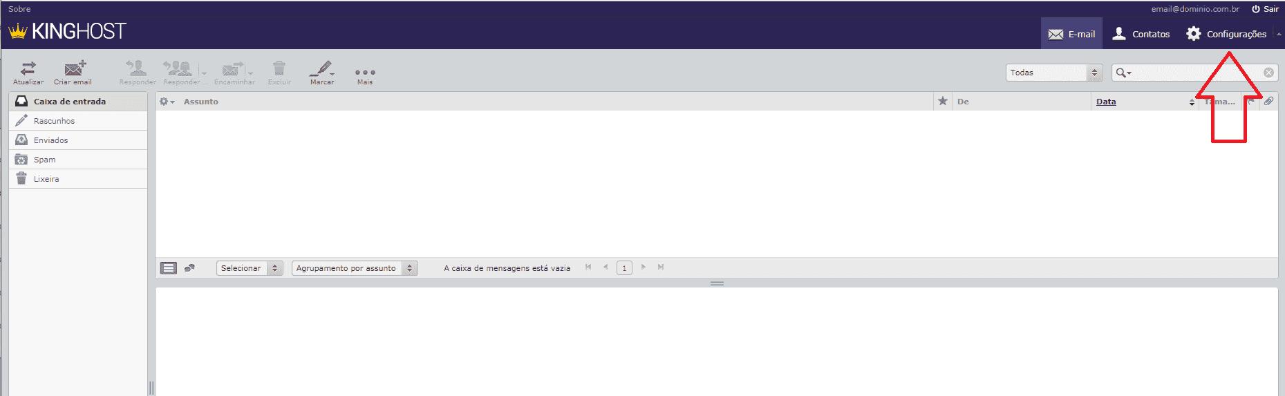 Como alterar o tema do webmail. Acessando o menu Configurações.