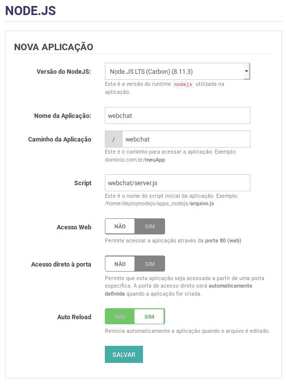 Aplicação nodejs com Socket.IO