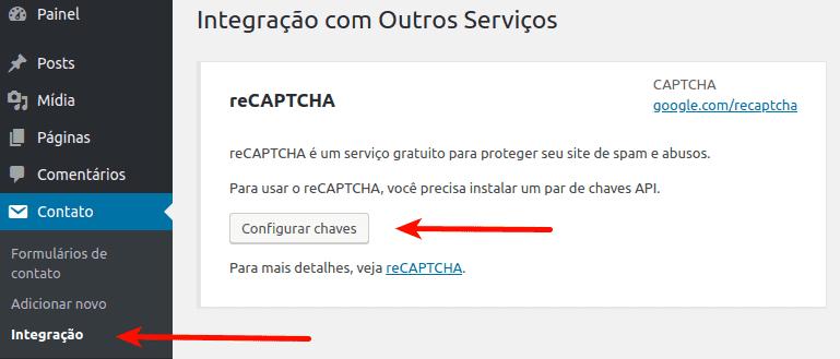 reCaptcha no WordPress: Configuração no plugin Contact Form 7