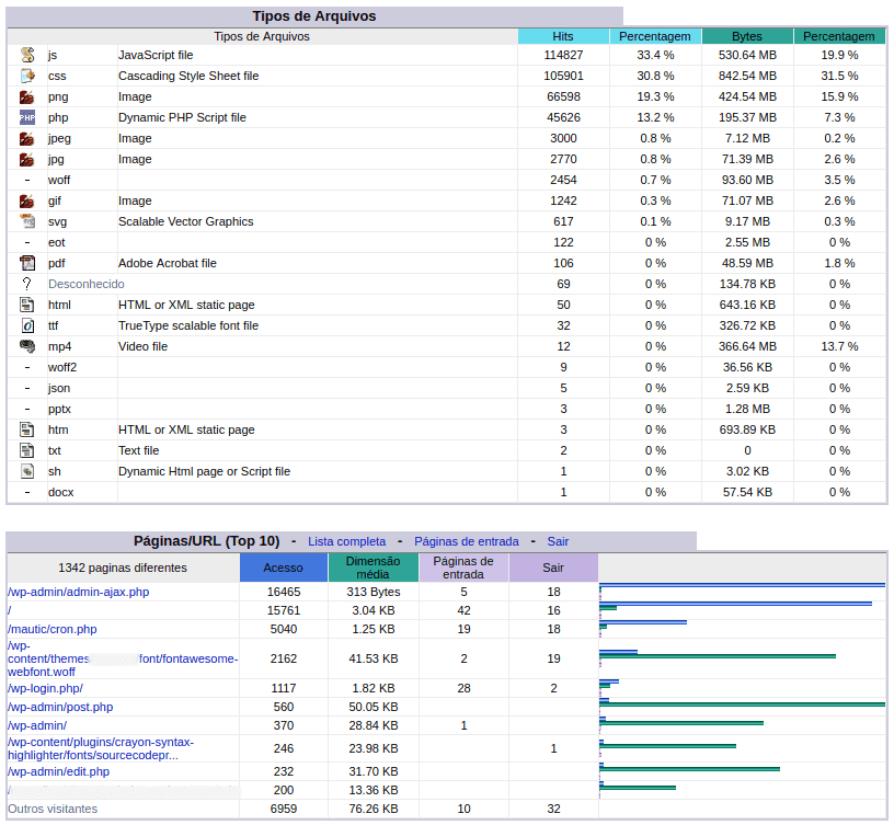 Stats - Top arquivos e páginas