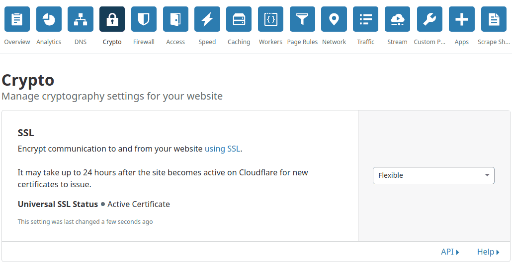 ativar flexible ssl cloudflare