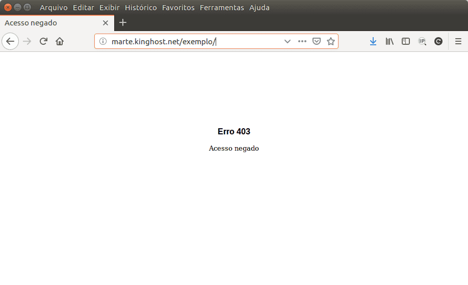 Entenda o que é o erro 403. Esta imagem ilustra o erro 403 ao acessar uma página na web.