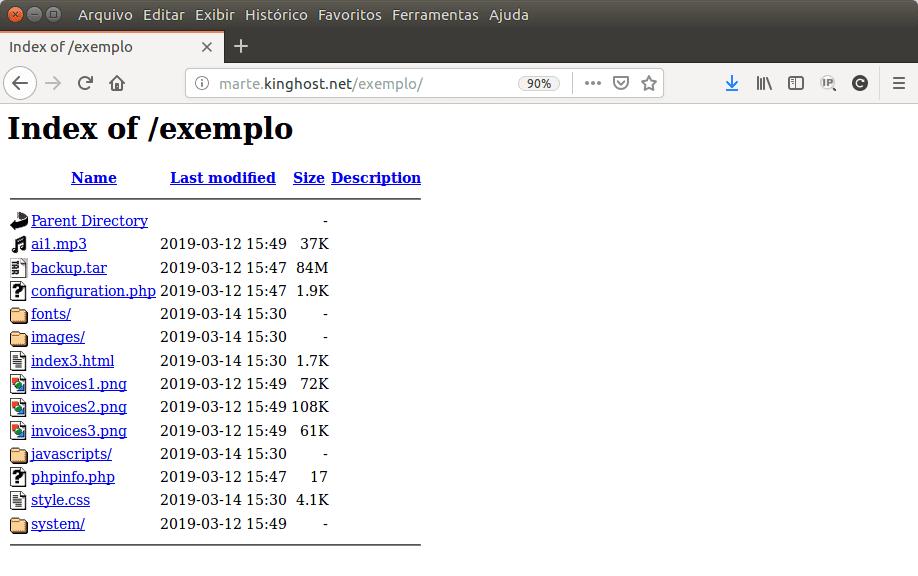 Aqui é exibido o conteúdo de um diretório, via web, quando não há uma página inicial.