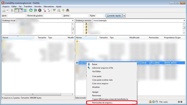 Esta imagem ilustra como alterar permissões através do FileZilla.