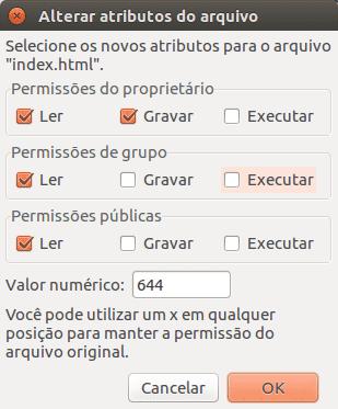 No detalhe, alteração de permissão no FileZilla no modo gráfico.