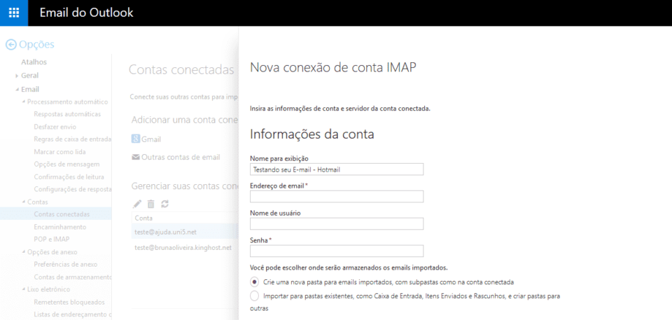 Preenchendo dados do servidor de entrada IMAP.