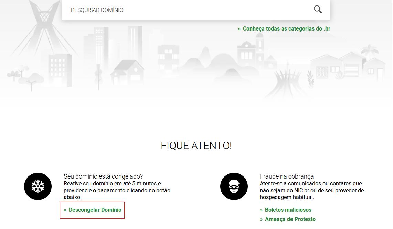 Como solicitar extensão de pagamento. Acessando a opção descongelar domínio no site da registro.br.