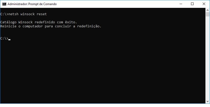 Redefinindo o catálogo winsock na tentativa de corrigir o erro DNS_PROBE_FINISHED_NXDOMAIN.