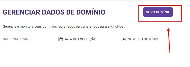 Painel de controle KingHost mostrando o gerenciador de domínio e também o botão para registrar um novo domínio.