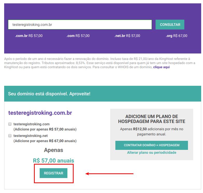 Página de registro de novo domínio com valores dos registros e confirmando o registro de um domínio.