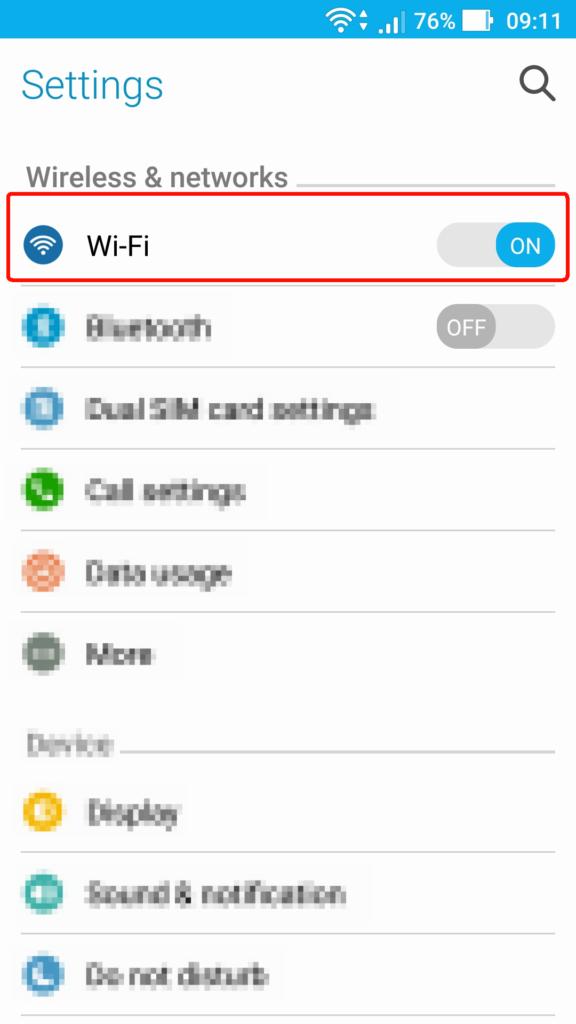 Acessando as configurações de Wi-Fi no Android.