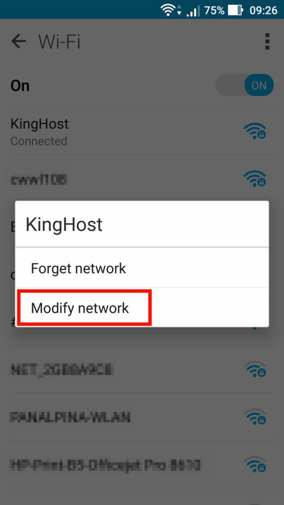 Acessando opção para modificar a rede.