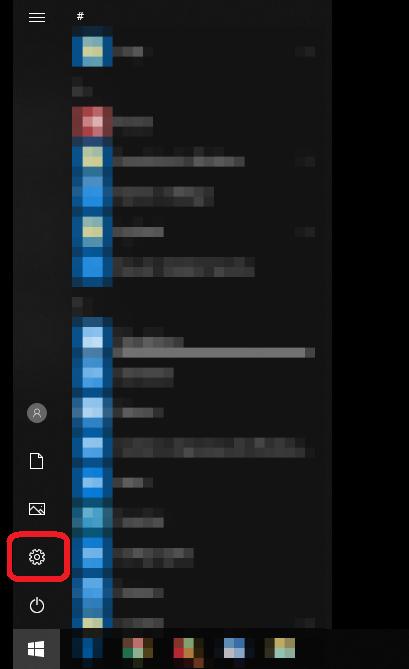 DNS recursivo no Windows 10: no menu iniciar, clique em configurações.