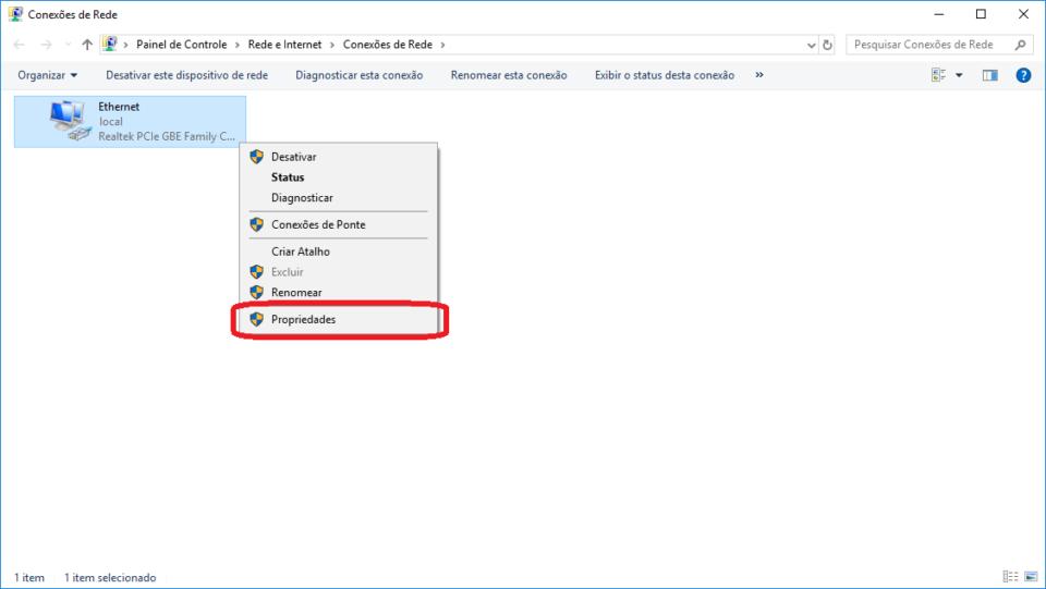 Já nas configurações do adaptador de rede, clique com o botão direito da sua placa de rede e selecione propriedades.