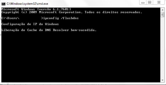Nesta tela é possível verificar como é feita a limpeza de cache no windows, no prompt de comando.