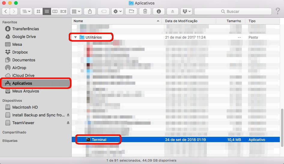 Acessando o terminal no MacOS.