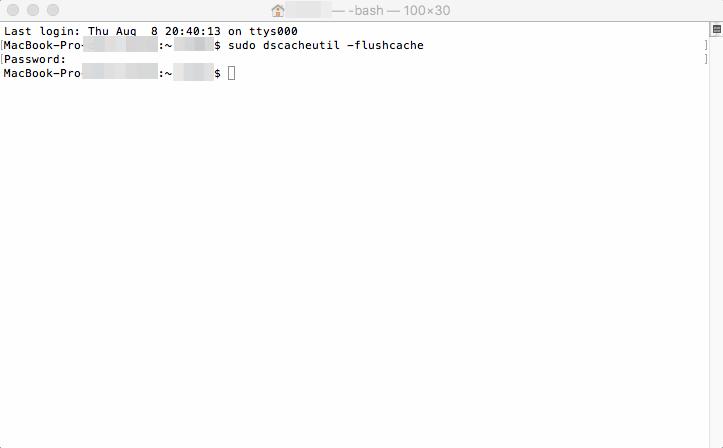 Executando o comando para limpeza de cache no terminal do Mac.