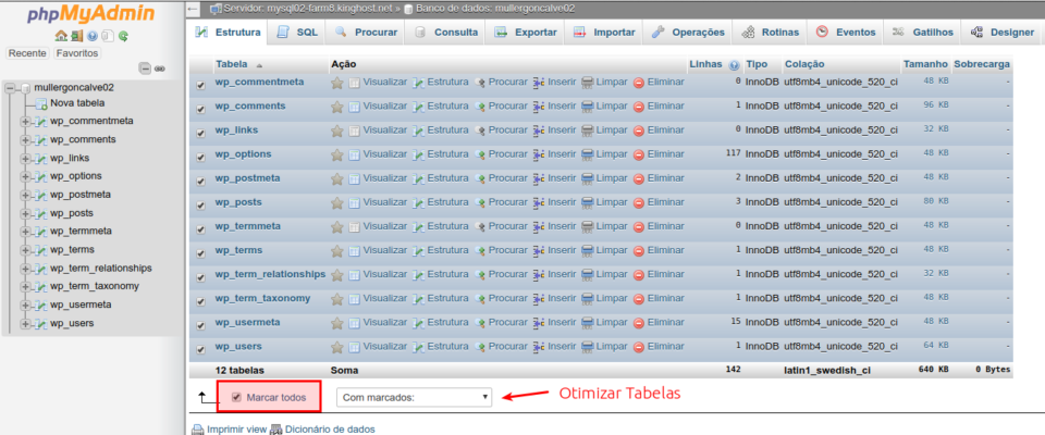 Otimizar tabelas do MySQL