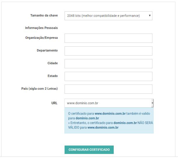 Formulário de configuração do certificado SSL.