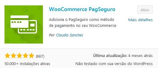Nesta imagem, vemos o ícone do plugin WooCommerce PagSeguro.