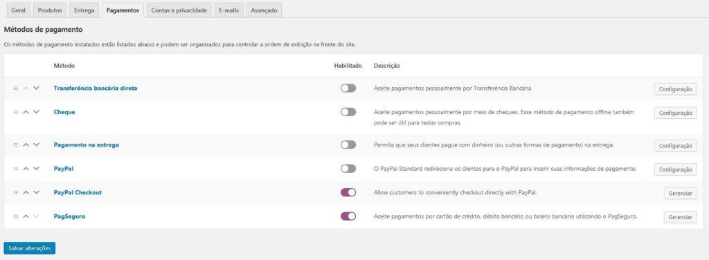 Nesta imagem, vemos as opções de pagamento, dentro das configurações do WooCommerce.