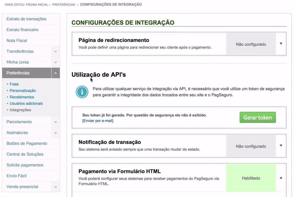 """Nesta imagem, temos o menu """"preferências"""", dentro do painel administrativo do PagSeguro. Ao centro da tela, temos a opção """"Utilização de API's""""."""